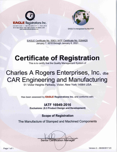 TS 16949 Stamping Certification